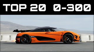 TOP 20 FASTEST 0-300 CARS | Forza Motorsport 7 | Crazy Accelerations!