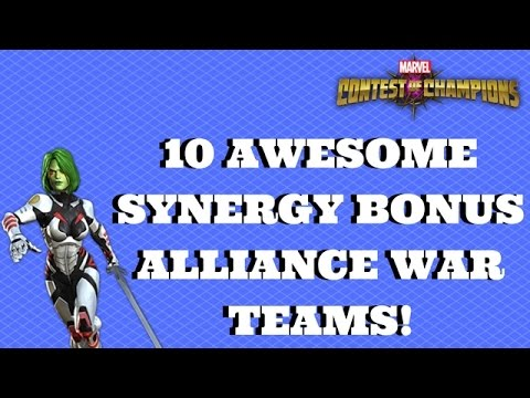 10 AWESOME SYNERGY BONUS ALLIANCE WAR TEAMS! | Marvel Contest of Champions