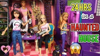Barbie Family 24 Hr Overnight Challenge in Haunted Dollhouse