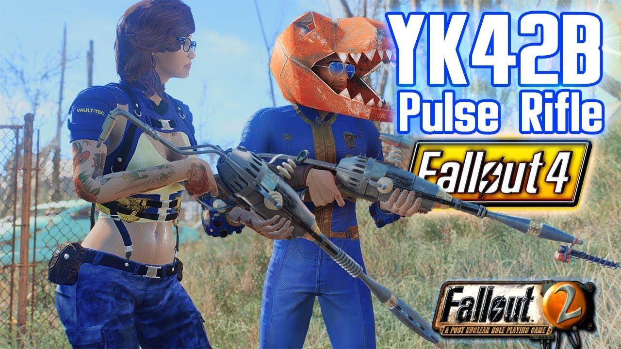 FALLOUT 4 - YK42B - PULSE RIFLE & Unique DINO Helmet (Fallout 2 Classic  Pulse Rifle Mod Remake)