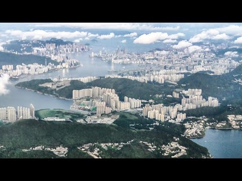 Stunning Approach and Landing into Hong Kong Airport Just After Sunrise. Boeing 777 Cathay Pacific