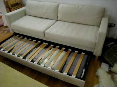 karlstad 3 seat sofa bed cover armless sleeper ikea - youtube