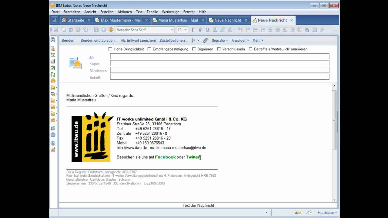 Itwu Simple Signature Der Einfache Weg Zur Perfekten Lotus Notes Domino E Mail Signatur