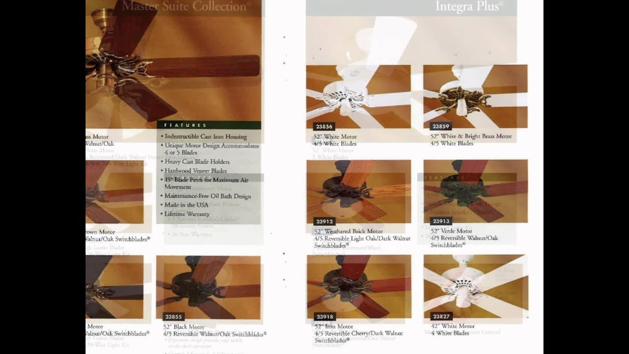 Hunter Ceiling Fan Catalog From 1997 Youtube Electric Without Blade Manufacturers