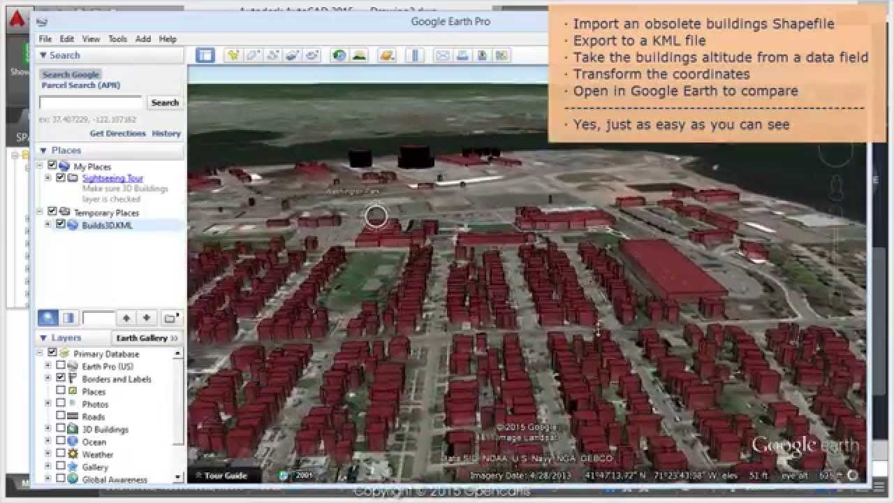 how to get contours from google earth to autocad
