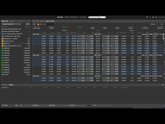 Adjusting Option Chain Layout in ELANA Global Trader