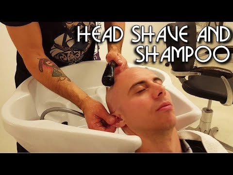 💈 Italian Barber - Head Shave with Shampoo - ASMR no talking - Water Sounds