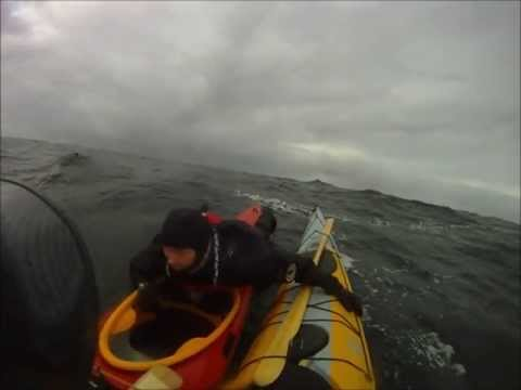 Offshore Kayaking - Capsize and Rescue in Heavy Seas.