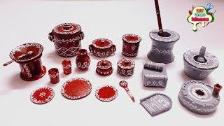 Indian Traditional Antique Toy kitchen play set | traditional kitchen set | Arush Diy Crafts  ideas