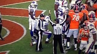 Refs fist bumping after Denver scores against buffalo!!!