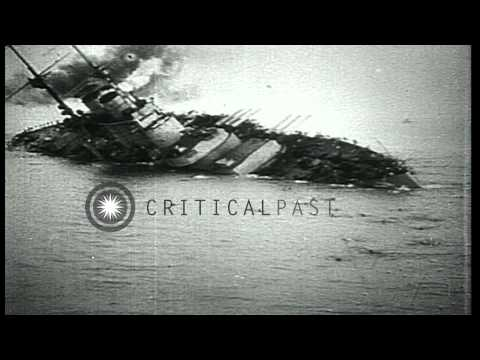 World War 1 naval warfare including submarines, Italian torpedo boats, and sinkin...HD Stock Footage