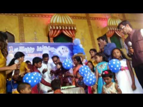 Chennai Event Emcees Nandy & Thamizh organizing cake cutting during Dakshan's bday