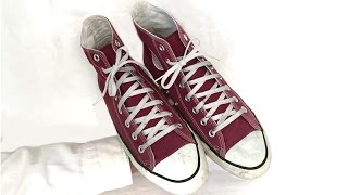 Vintage USA-MADE Converse All Star Chuck Taylor shoes 10 burgundy maroon at collectornet.net