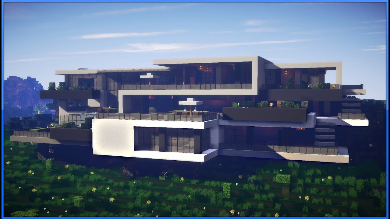 Minecraft epic modern mansion 60fps youtube for Contemporary mansions
