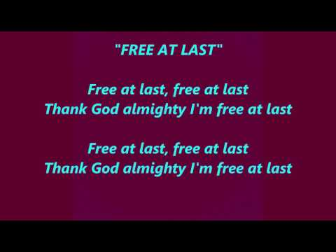 FREE AT LAST Thank God Almighty I'm words lyrics popular favorite trending sing along  songs
