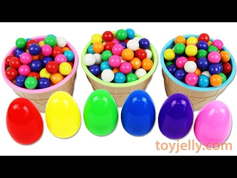 Thumbnail: Learn Colors Bubble Gum Ice Cream Cup Surprise Egg Toys Disney Cars TMNT Play Doh Popsicle Numbers