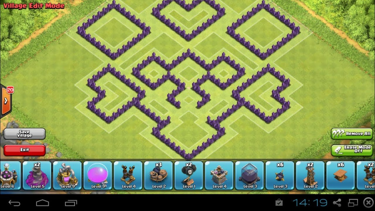 Clash Of Clans Th8 Trophy Base Defense Base Youtube