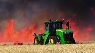 2x John Deere 9620RX - Biggest fire Action | Cultivation/Bodenbearbeitung 2017