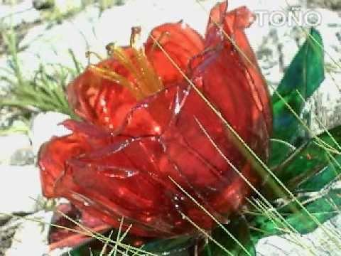 Como hacer flores con botellas pet how to make flowers - Flores de plastico ...