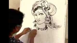 How to draw an AMAZING PAINTING OF SHREE KRISHNA