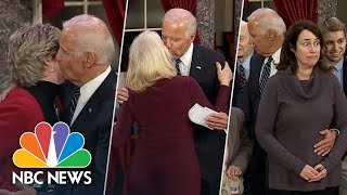 """Former vice president joe biden has been criticized for unwanted physical contact, stemming from his """"tactile approach to politics."""" revisit some of past..."""