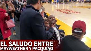El curioso saludo que le dio Mayweather a Pacquiaoa durante el Lakers-Warriors | Diario AS