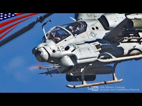 AH-1Zバイパー & UH-1Yヴェノム ヘリコプターの航空支援砲撃訓練
