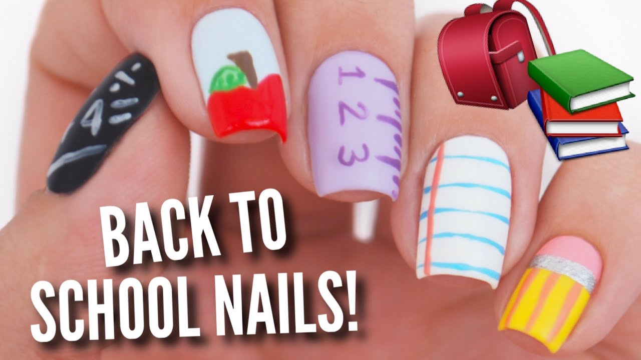 5 Back To School Nail Art Designs Youtube