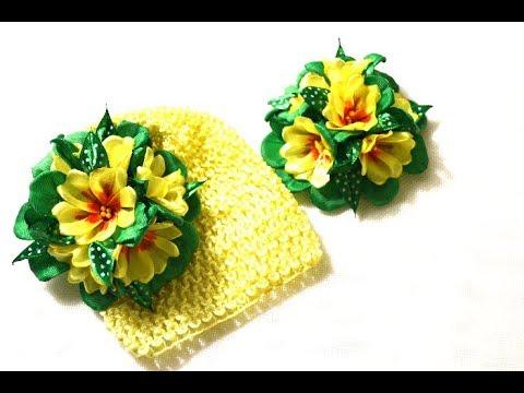Первоцветы из лент/Примула цветок/Весенняя композиция/ Primula .