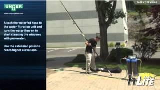 Видеоинструкция по мытью окон на высоте с помощью штанг с подачей воды Unger nLite