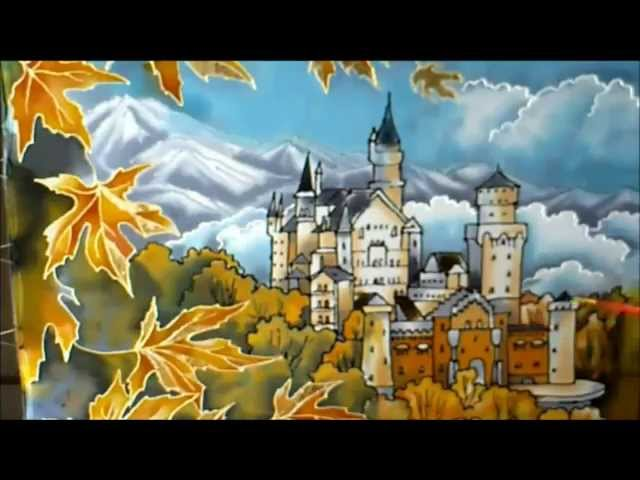 Silk painting Autumn in the Alps. Seidenmalerei Herbst. ????? ????? ? ??????