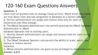 Oracle 1Z0-160 Practice Test Questions Dumps