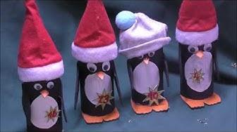 Pinguine aus Klo Rollen - Adventskalender