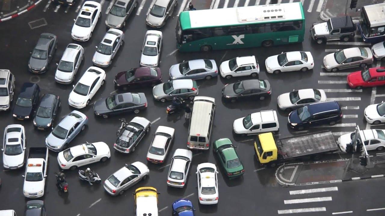 Traffic deadlock in Tel Aviv - YouTube