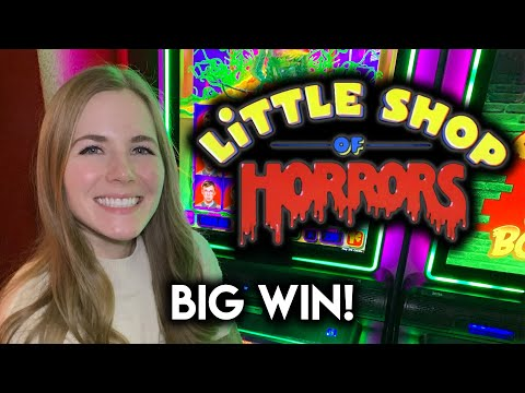 BIG WIN! First Time Trying NEW Little Shop of Horrors Slot Machine! Super Fun Game! - 동영상