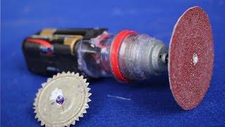 Как сделать мини шлифовальный станок и автомат для резки(Материалы: крышка кока-кола, 4 AA случай батареи, электродвигатель 6V, 4 батарейки типа AA, кнопка Пассаж, ручка..., 2016-03-26T09:02:57.000Z)