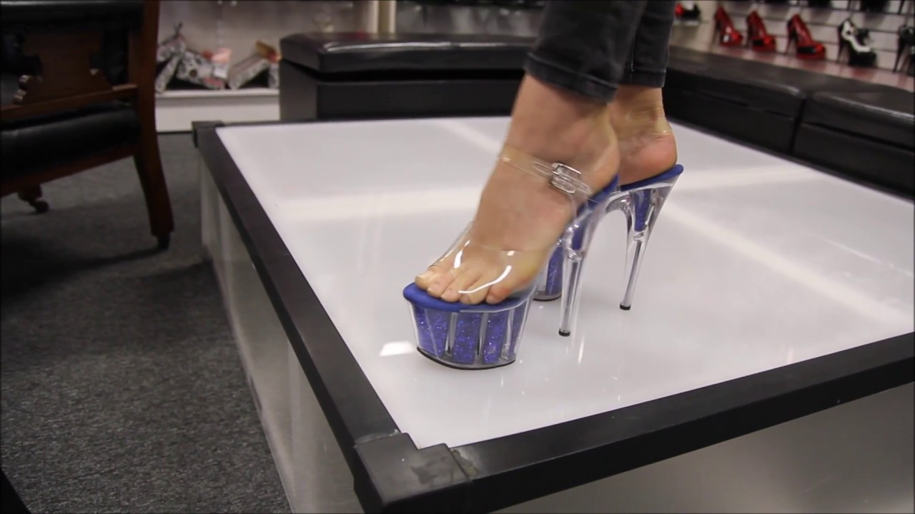 e19775235160 Review Pleaser Adore 708 G Blue Glitter 7 Inch High Heel Shoes - YouTube