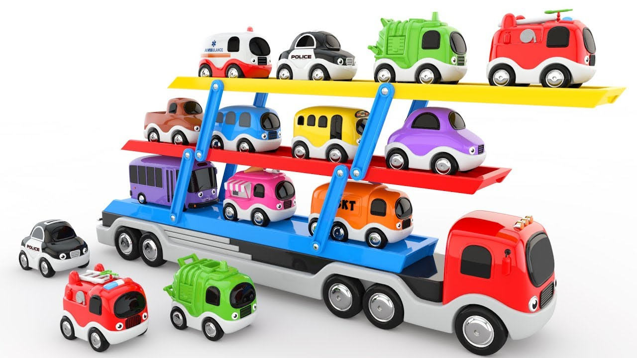 Colors For Children To Learn With Car Transporter Toy