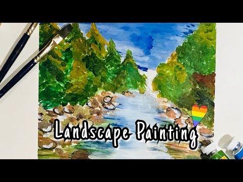 Easy acrylic landscape painting || Time Lapse||