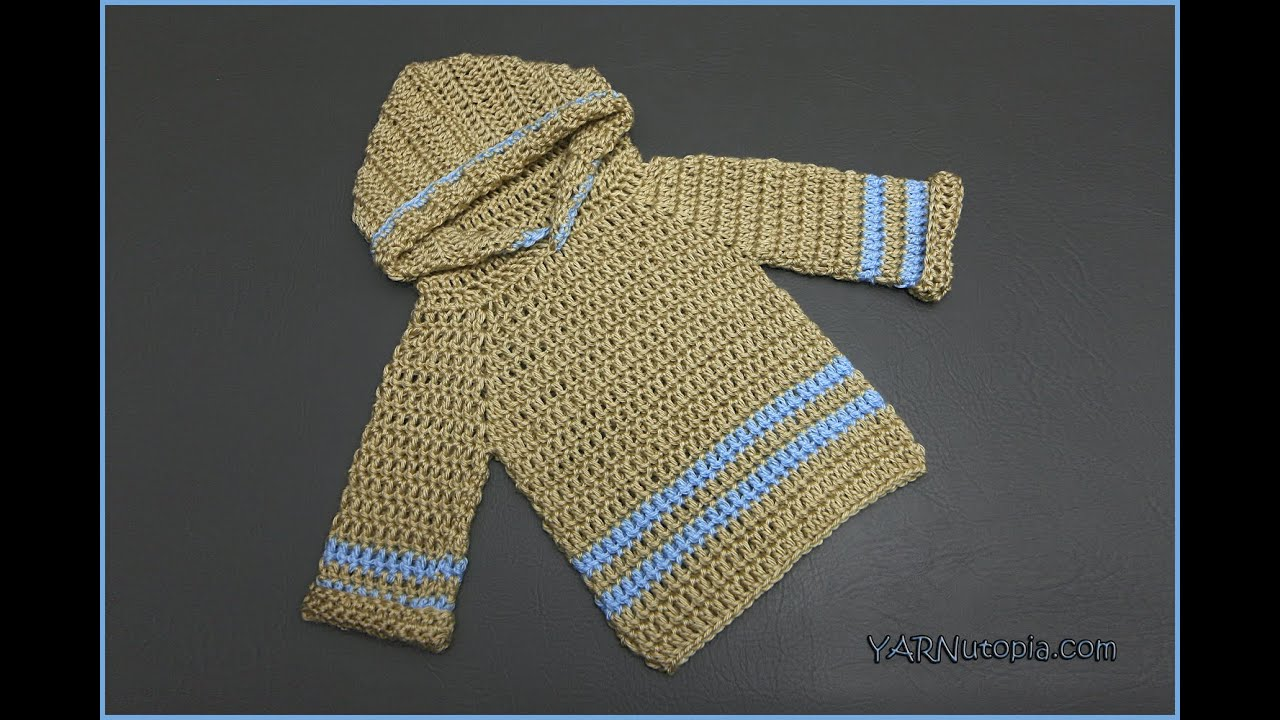 How to Crochet an Infant Pullover Hoodie - YouTube