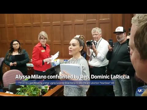 WATCH: Actress Alyssa Milano confronted Rep. Dominic LaRiccia
