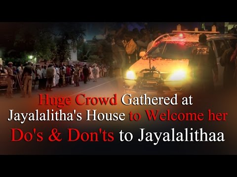 """Enormous Crowd gathered at Jayalalithaa's House to welcome her – do's & don'ts for  jayalalithaa till Dec 18 #jayalalithabailresult #jayalalithainjail #admk #JayaVerdict   AIADMK chief J. Jayalalithaa has reached her Poes Garden residence. Unmindful of the heavy downpour, she was given a rousing reception by thousands AIADMK cadres throughout her journey from the airport till her residence. Thousands of AIADMK cadres had been waiting patiently since morning to see their leader Jayalalithaa. D Ramesh, a party functionary from Royapuram, who was waiting since morning, said, """"I don't want to leave this place without seeing her."""" A large number of women too had gathered at Poes Garden since morning on the hope that their leader will say a few words - usually from the balcony on major occasions. Earlier, Jayalalithaa was released today from jail here after 21 days, a day after Supreme Court granted her bail in an 18-year-old disproportionate assets case. Jayalalithaa stepped out of Parappana Agrahara Central Prison shortly after Special Court Judge John Michael D' Cunha issued the release order. Tamil Nadu Chief Minister O Pannerselvam, several ministers, MPs and legislators received her near the prison after which she headed to HAL airport to fly back to Chennai by a special flight. Jayalalithaa had yesterday got a major relief when the Supreme Court granted her conditional bail and suspended the sentence of four years simple imprisonment given by the trial court in Bangalore in the 18-year-old illegal assets case. Earlier, the release order by the Special Court came after a bond for Rs. two crore and surety on assets for more than Rs. one crore was furnished for Jayalalitha. Copy of the Supreme Court order was also produced by her lawyers. Jayalalithaa's close aide Sasikala and her relatives Sudhakaran and Elavarasi, who also fufilled similar conditions, also walked out of jail. AIADMK supporters carrying Jayalalithaa's photos and holding flowers broke into celebration"""