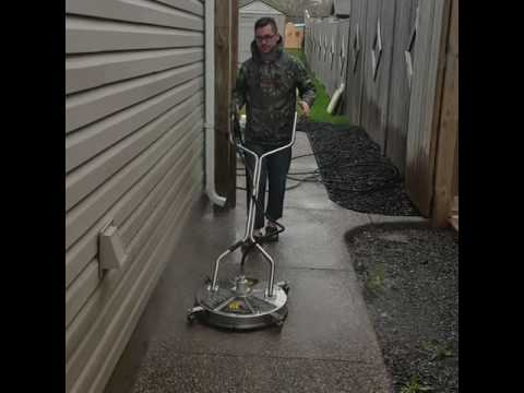 Pressure Washing before sealing exposed aggregate concrete
