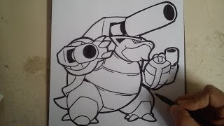 COMO DIBUJAR A MEGA BLASTOISE - how to draw mega blastoise - pokemon