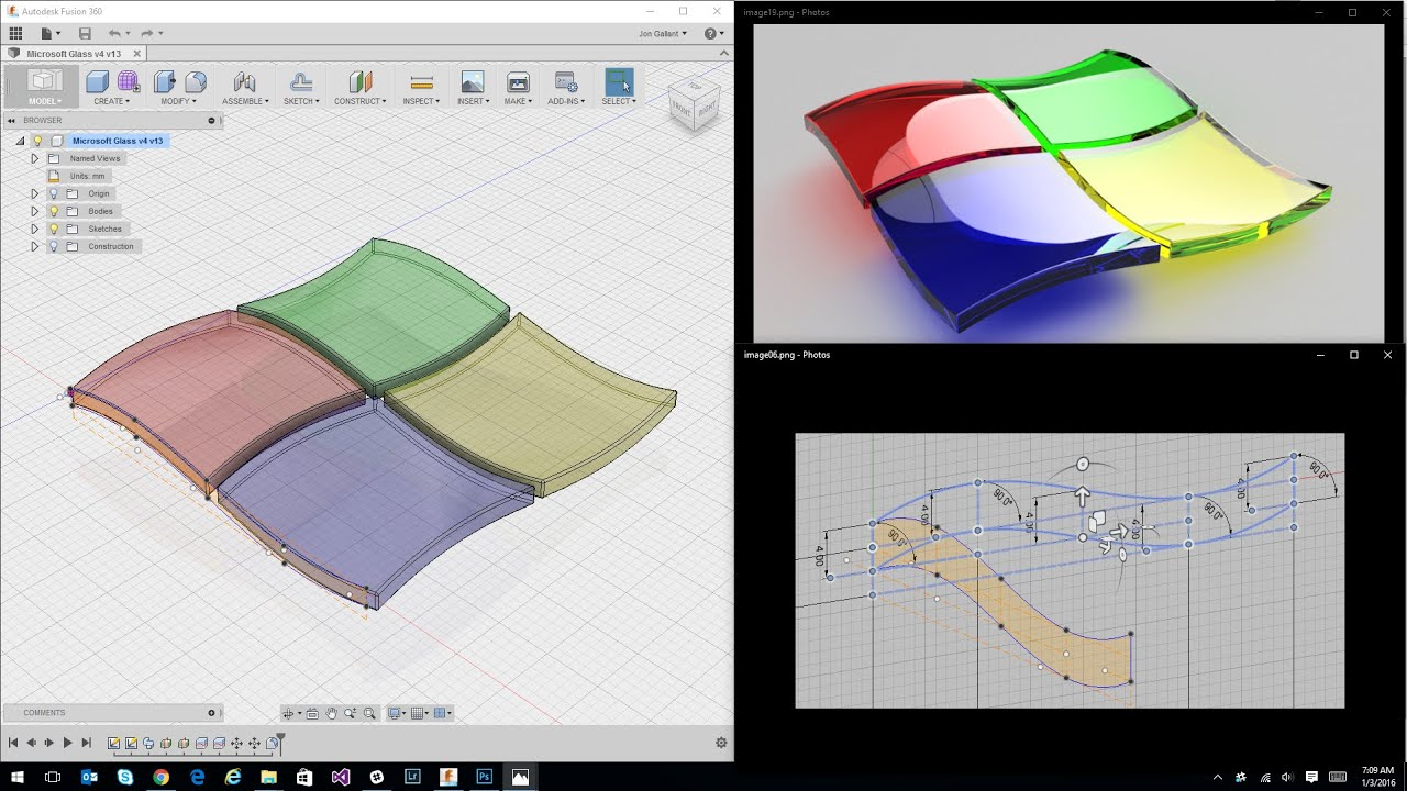 How to Create the Microsoft Glass Wave Logo with Fusion 360 | Jon