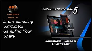 PreSonus Studio One 5 Live: DRUM SAMPLING SIMPLIFIED - Sampling Your Snare!