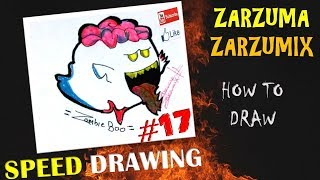 SPEED DRAWING HOW TO DRAW ZOMBIE BOO EASY AND FAST # 17