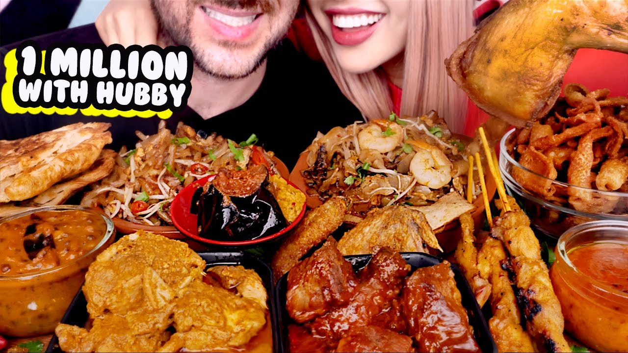 ASMR MALAYSIAN FOOD FEAST | Curry, Fried, Chicken Roti, Rendang | Eating Sounds Mukbang 먹방