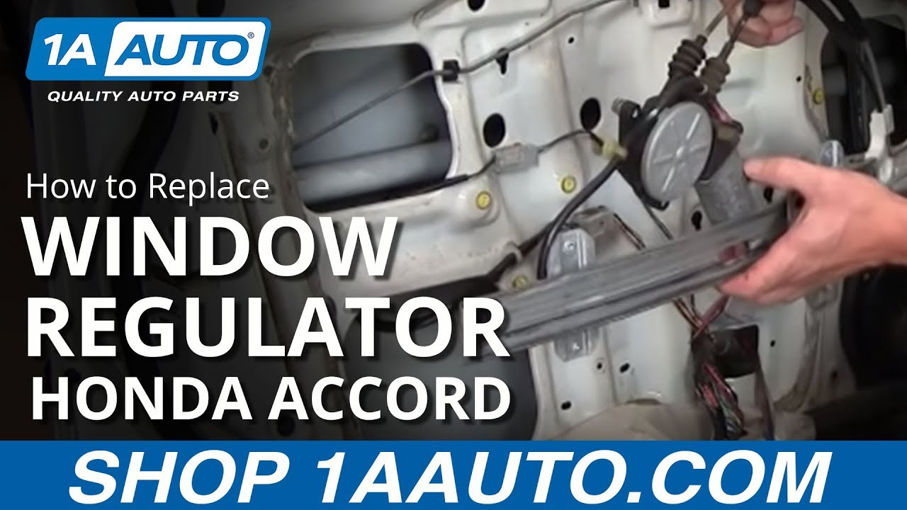 How to install replace front power window motor regulator for 2002 honda accord window off track