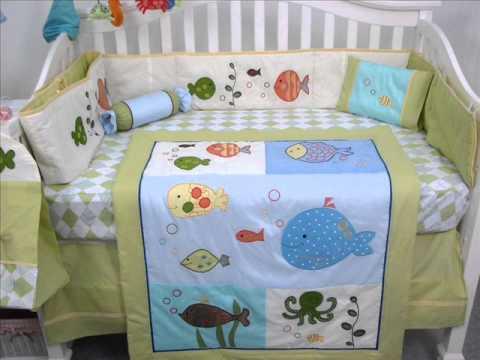 Gold Fish Aquarium Baby Crib Bedding Set 13 Pcs ; Baby Bedding Fabric
